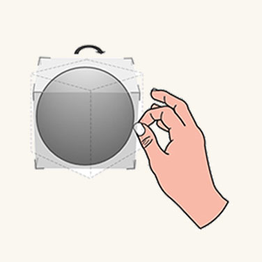 Graphic showing user grabbing an objects edge to rotate