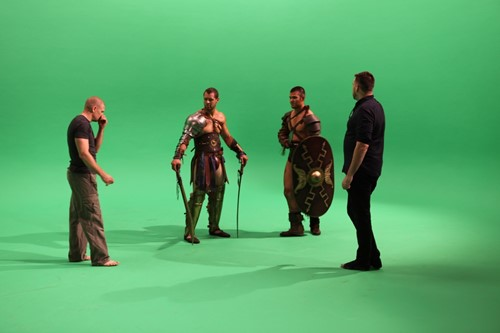 Our gladiators, getting instructions between takes.
