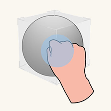 Graphic showing user grabbing large object to move
