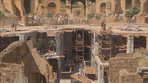 The modern day ruins of the Colosseum with an overlay showing the arena floor as it would have looked in ancient Rome.