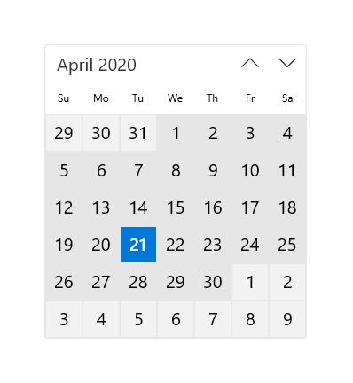 Esempio Calendario.Visualizzazione Calendario Windows Uwp Applications