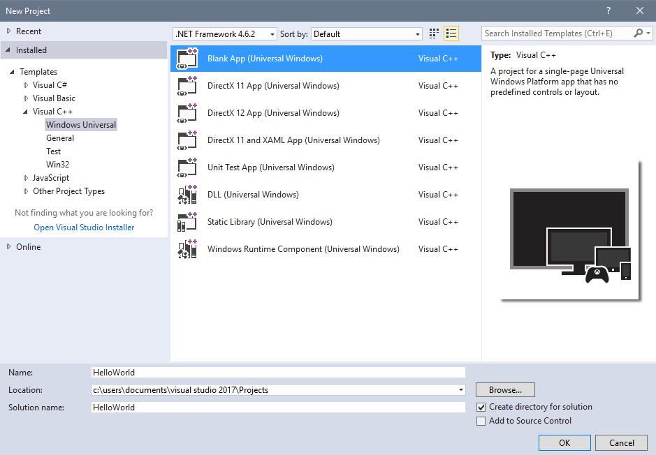 creare un hello world in app ccx windows 10 windows