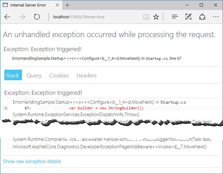 https://docs.microsoft.com/ja-jp/aspnet/core/fundamentals/error-handling/_static/developer-exception-page.png?view=aspnetcore-2.0