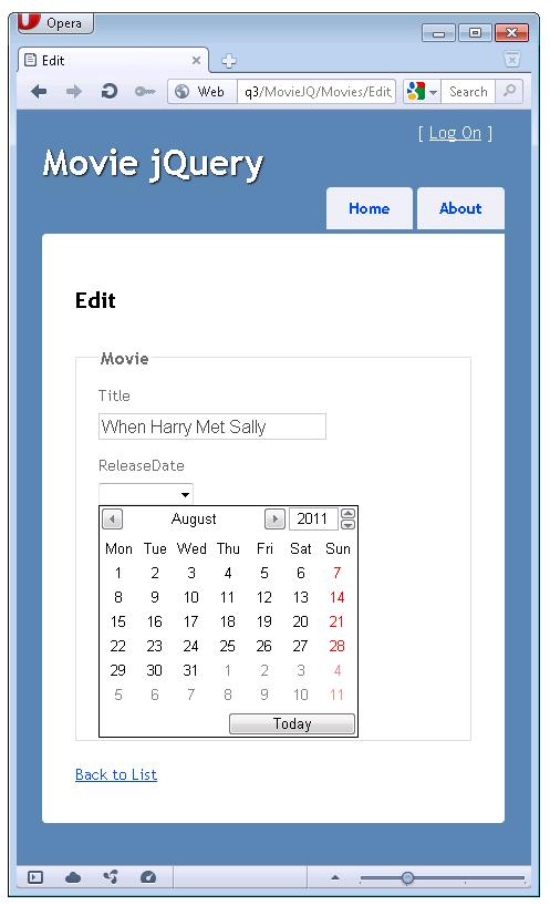 Editable Calendar Using Jquery : Html と jquery ui datepicker ポップアップ カレンダーを使用して、asp mvc