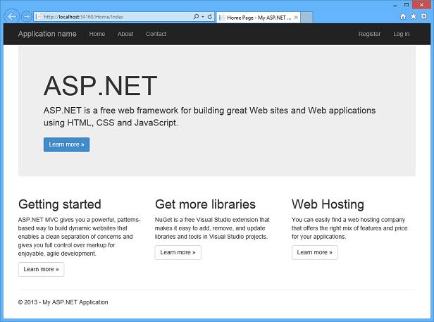 visual studio 2013 での asp net web プロジェクトを作成する