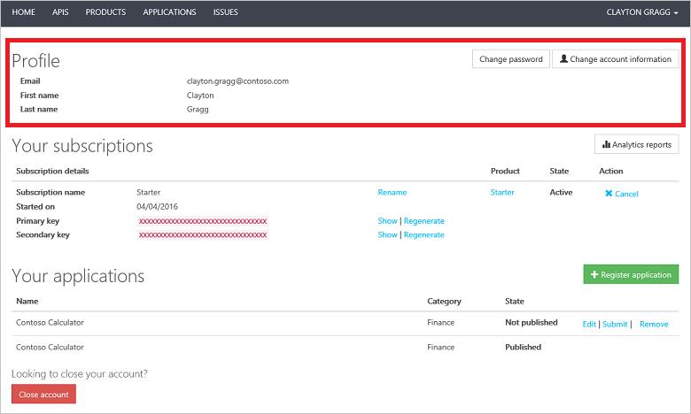 azure api management のユーザー プロファイル テンプレート