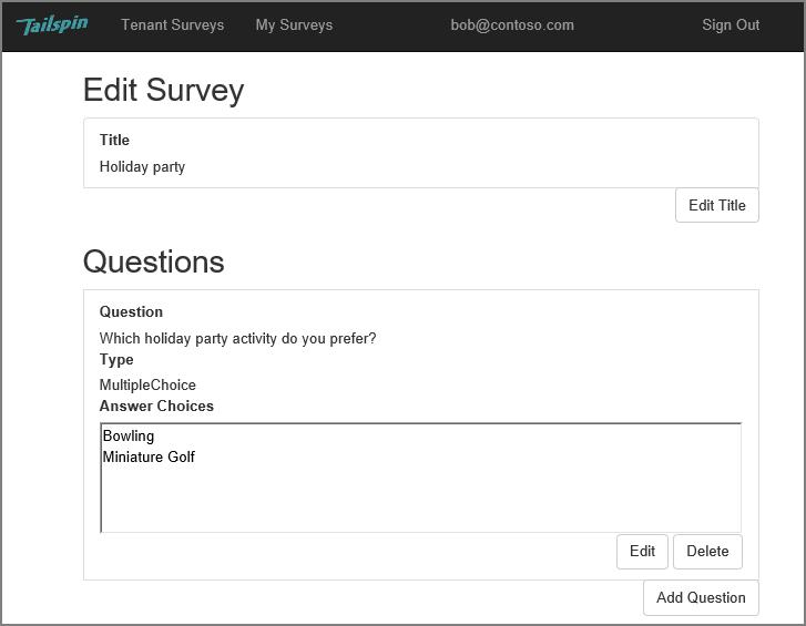 tailspin surveys アプリケーションについて microsoft docs