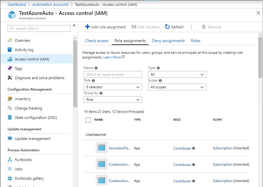 Azure Automation のロールのアクセス許可とセキュリティを管理する ...
