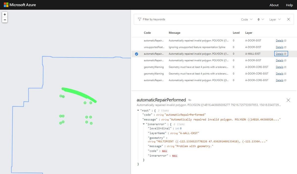 Azure Maps Drawing Error Visualizer を使用する   Microsoft Docs
