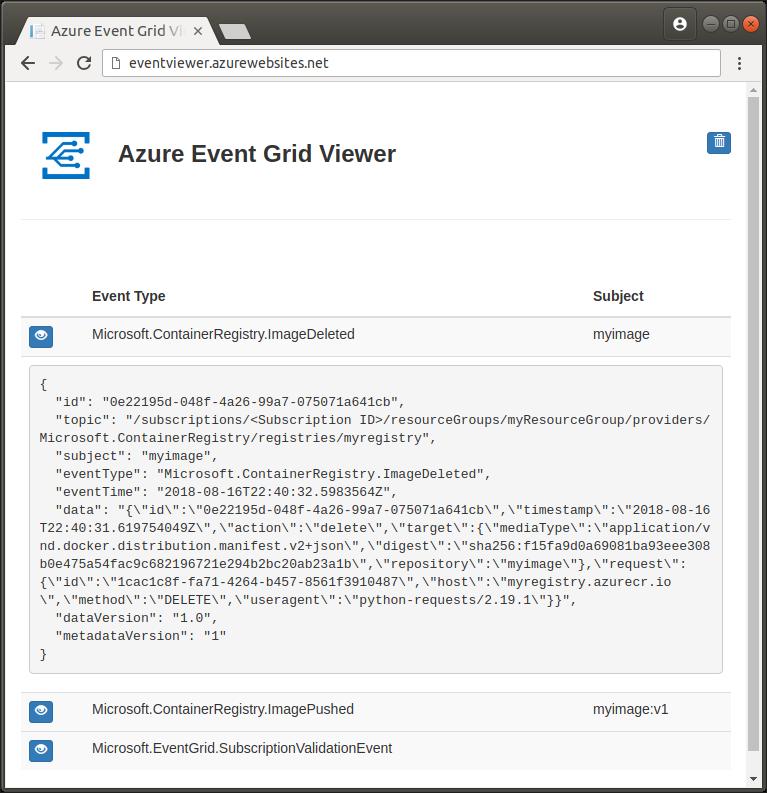 クイック スタート event grid への azure container registry