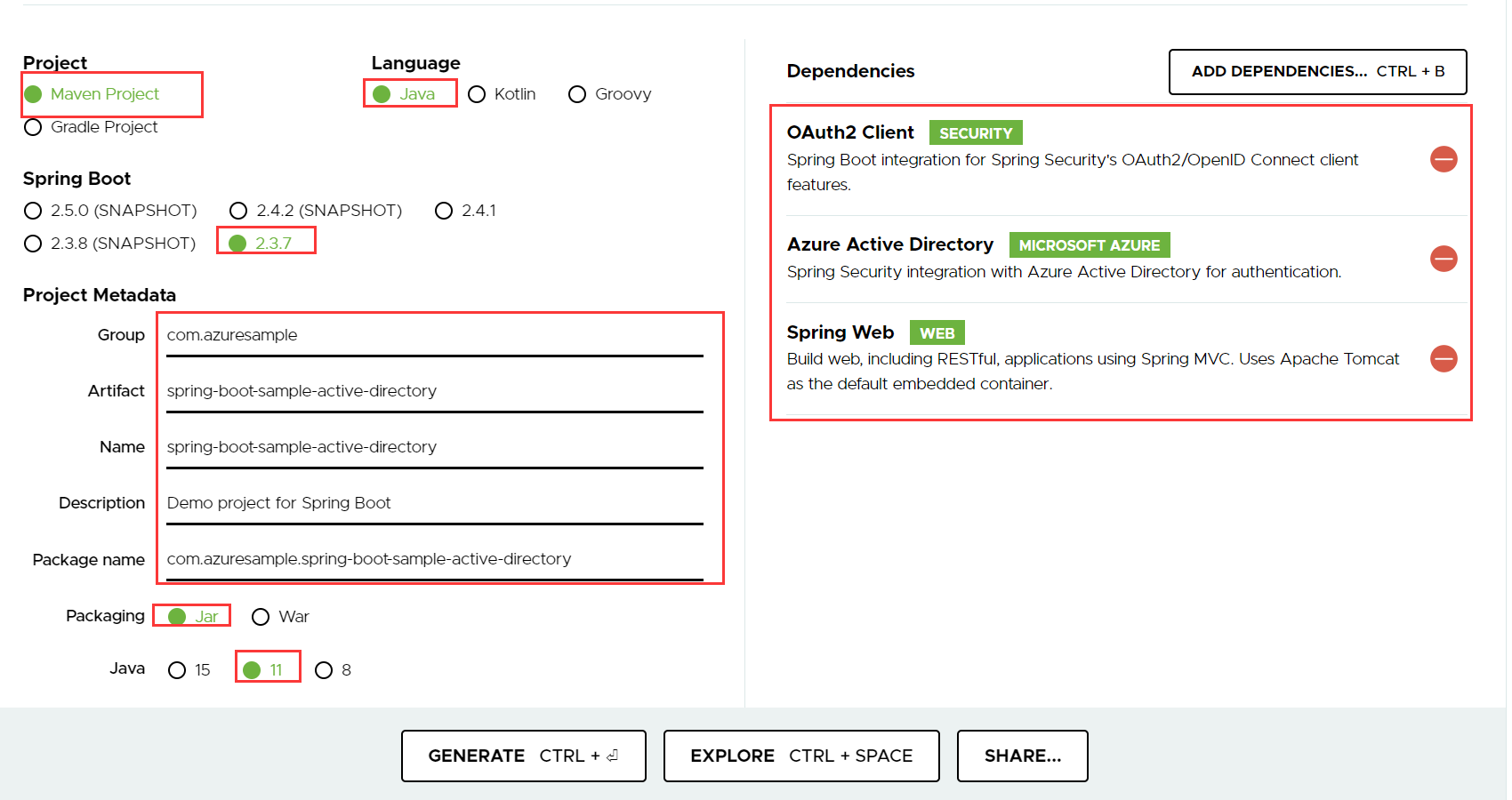 Azure Active Directory 用の Spring Boot