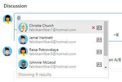 Discussion section, @mention drop-down menu