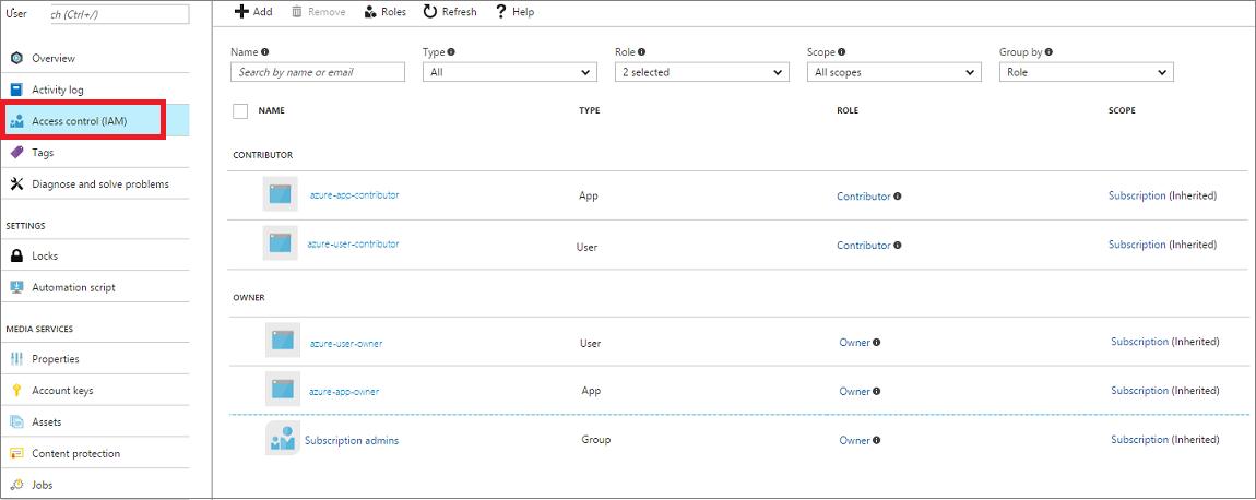 Azure AD 認証を使用した Azure Media Services API へのアクセスAccess the Azure Media Services API with Azure AD authentication