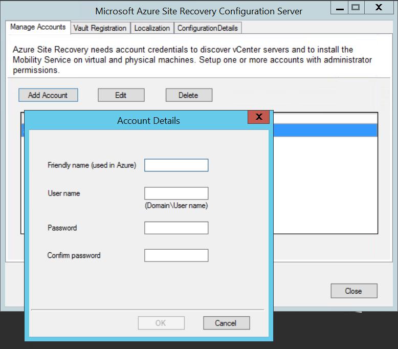 Azure Site Recovery で VMware VCenter サーバーを管理する
