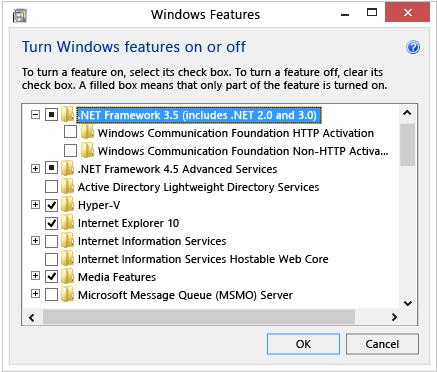 Windows 8 windows 8 1 windows 10 net framework 3 5