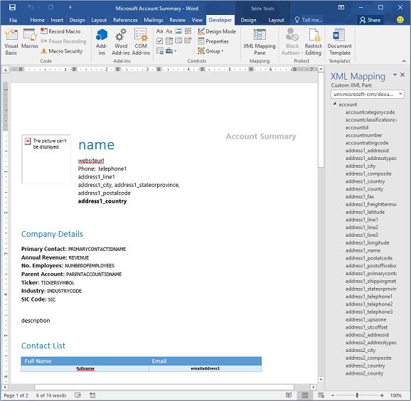 dynamics 365 customer engagement で word テンプレートを使用する