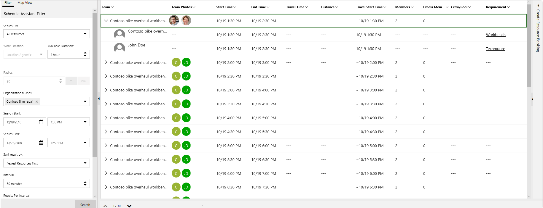 use the schedule board to configure service activity dynamics 365