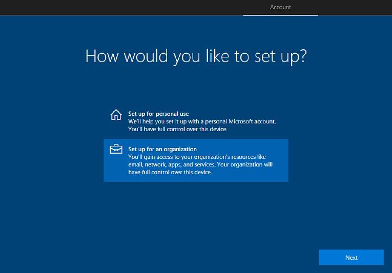 windows oobe を使用した windows 10 デバイスのセットアップ