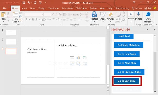 office javascript api を使用して powerpoint でスライド間を移動する