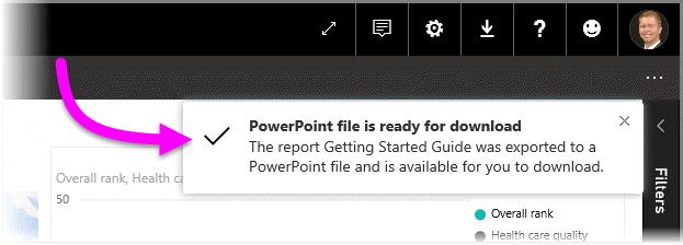power bi から powerpoint にレポートをエクスポートする power bi