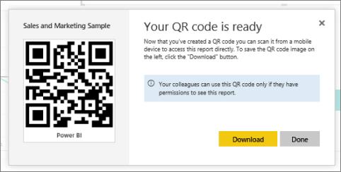 power bi モバイル アプリで使用するレポートの qr コードを作成する