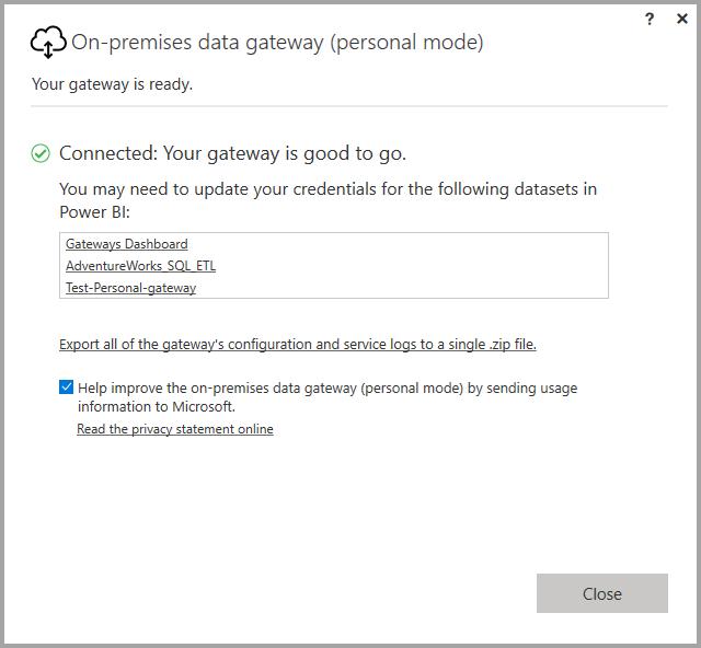 オンプレミス データ ゲートウェイ 個人用モード power bi