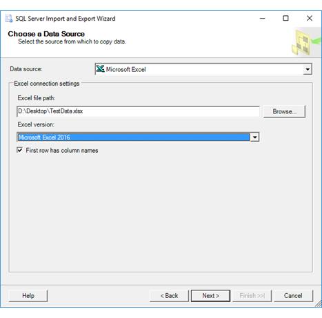 excel データ ソースに接続する sql server インポートおよび