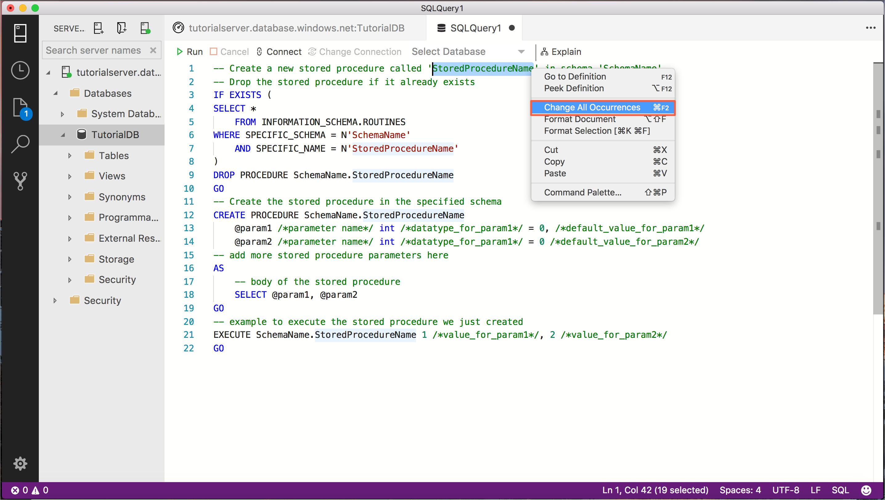 チュートリアル: SQL Operations Studio (preview) により、TRANSACT-SQL ...