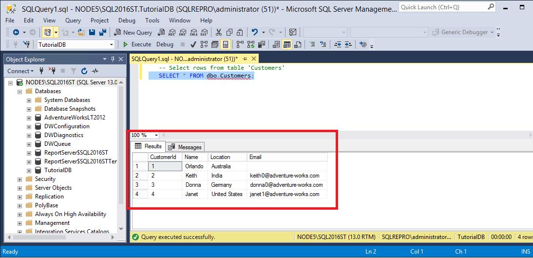 チュートリアル sql server management studio を使用して sql server