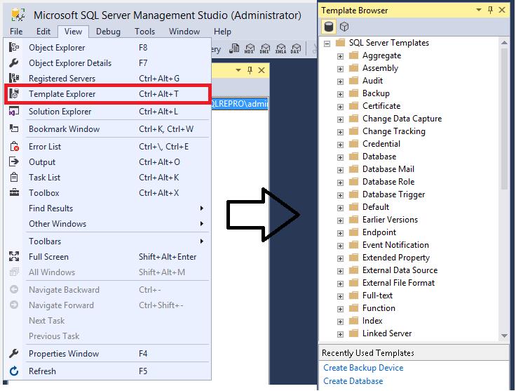 チュートリアル sql server management studio でテンプレートを使用