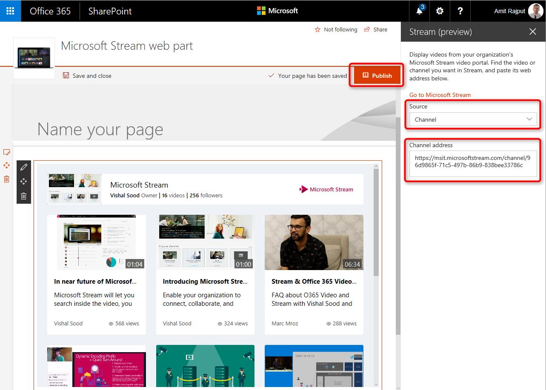 Microsoft Stream を SharePoint Online に埋め込んで他のユーザーと共同作業する ...
