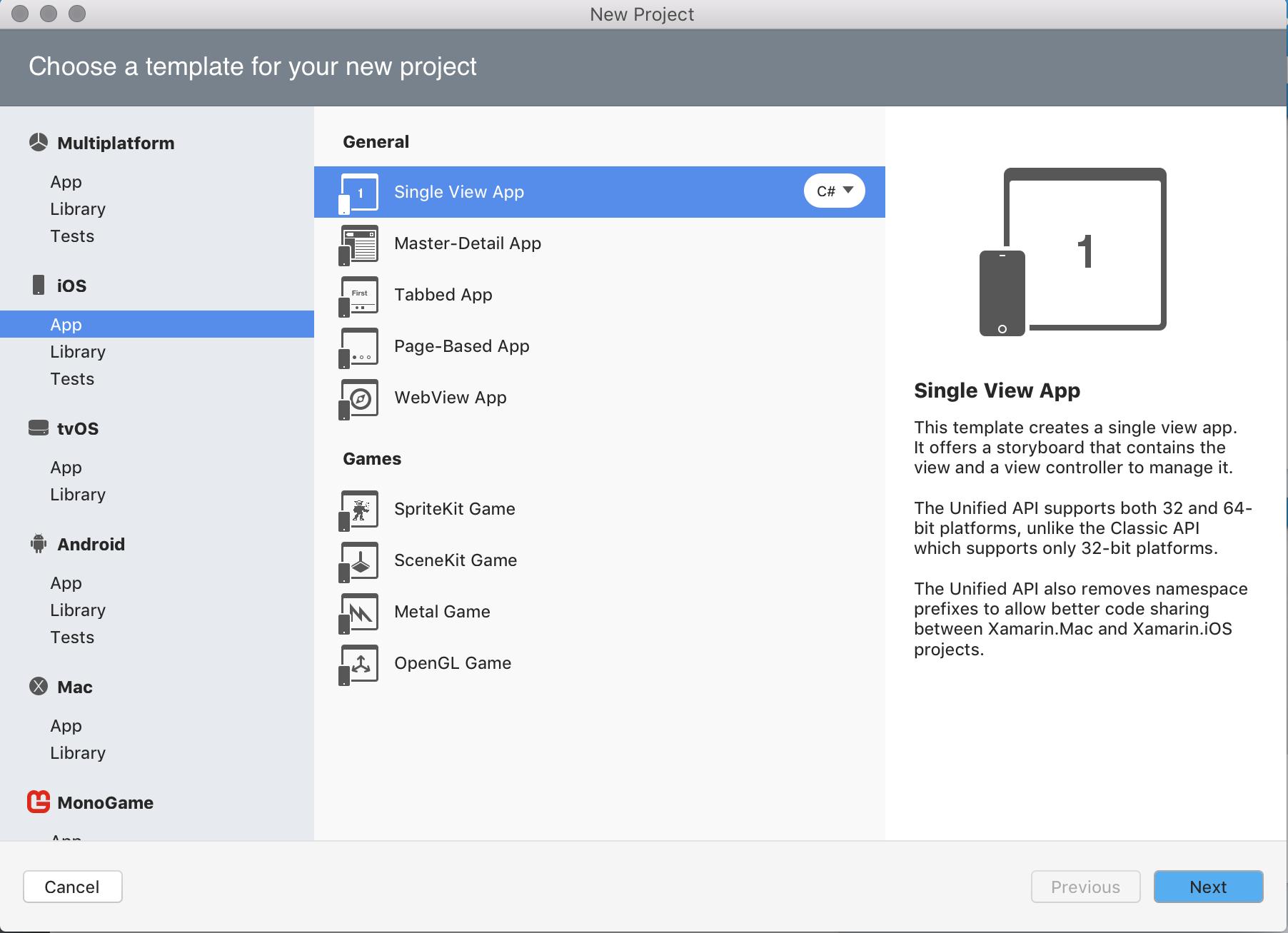 新しいプロジェクトとソリューションを作成する visual studio for mac