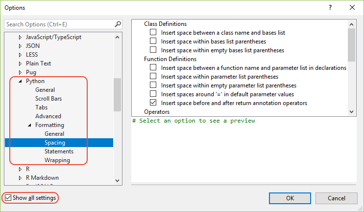 python コードの書式を設定する visual studio microsoft docs