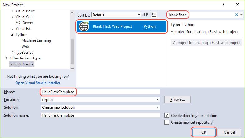クイック スタート テンプレートを使用して python プロジェクトを作成