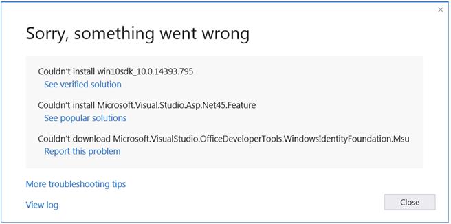 Visual studio 2017 155 new installer error dialog box yelopaper Gallery