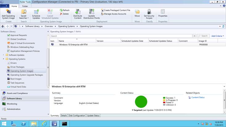 configuration manager を使った windows 10 オペレーティング システム