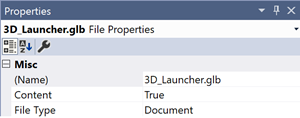 "Select the .glb in your solution explorer and use the properties section to mark it as ""Content"" in the build settings"