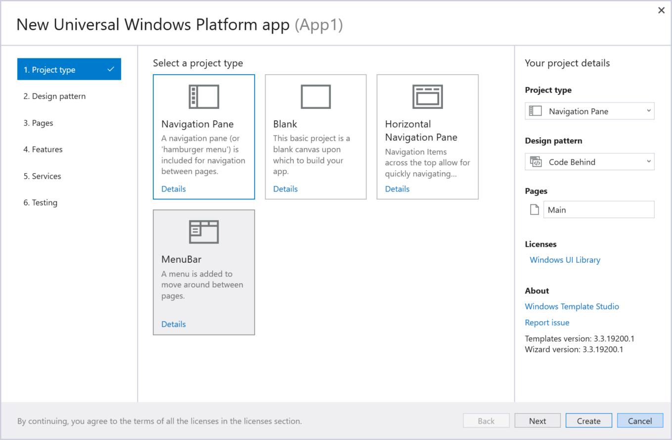 windows template studio uwp app developer microsoft docs