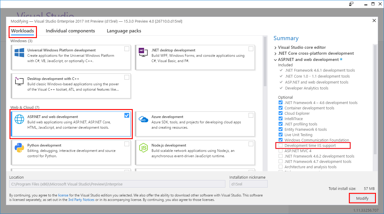 Visual Studio 기능 수정: 워크로드 탭이 선택되어 있습니다.