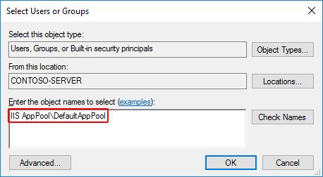 """앱 폴더에 대한 사용자 또는 그룹 대화 상자 선택: """"이름 확인""""을 선택하기 전에 개체 이름 영역의 """"IIS AppPool""""에 앱 풀 이름 """"DefaultAppPool""""이 추가됩니다."""