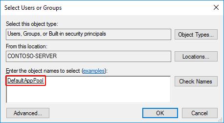 """앱 폴더에 대한 사용자 또는 그룹 대화 상자 선택: """"이름 확인""""을 선택하면 개체 이름 영역에 개체 이름 """"DefaultAppPool""""이 표시됩니다."""