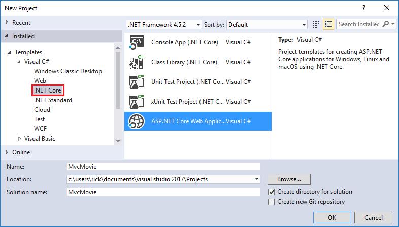 새 프로젝트 대화 상자, 왼쪽 창의 .Net core, ASP.NET Core 웹New project dialog, .Net core in left pane, ASP.NET Core web