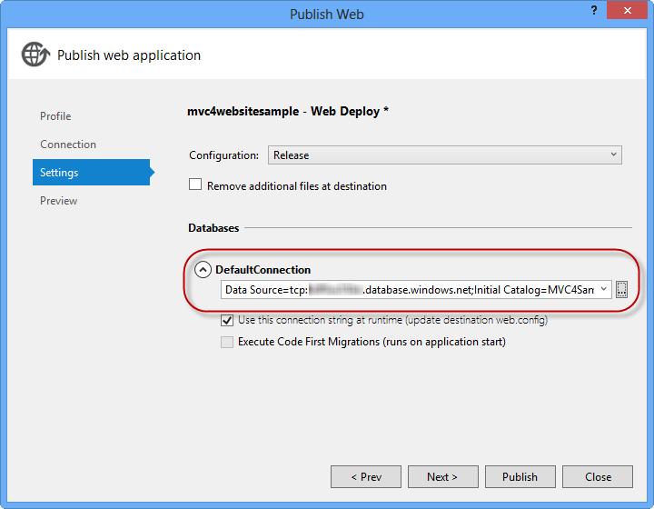 SQL 데이터베이스를 가리키는 연결 문자열