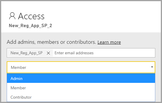 Screenshot showing adding a member or an admin to the access pane in the Power BI portal.