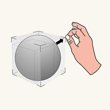 Graphic showing user grabbing an objects corner to scale