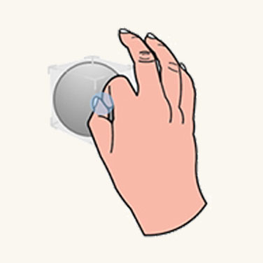 Graphic showing user grabbing small object to move