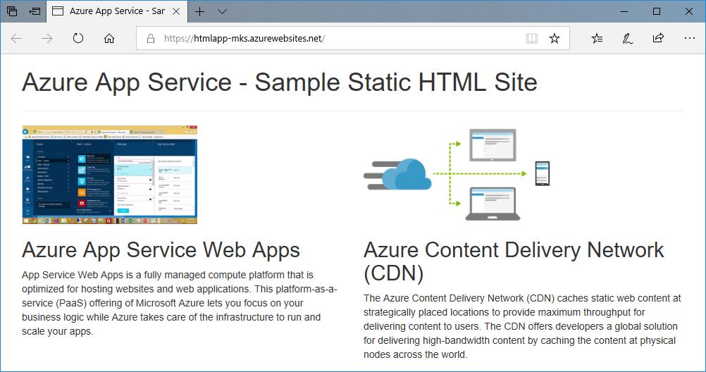 QuickStart: Create a static HTML web app Azure App Service