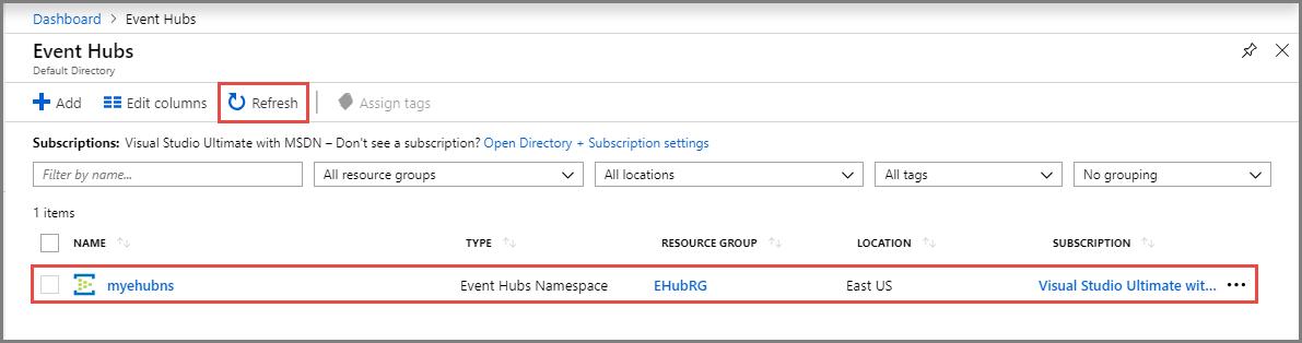 21cba11b Azure Quickstart - Create an event hub using the Azure portal ...