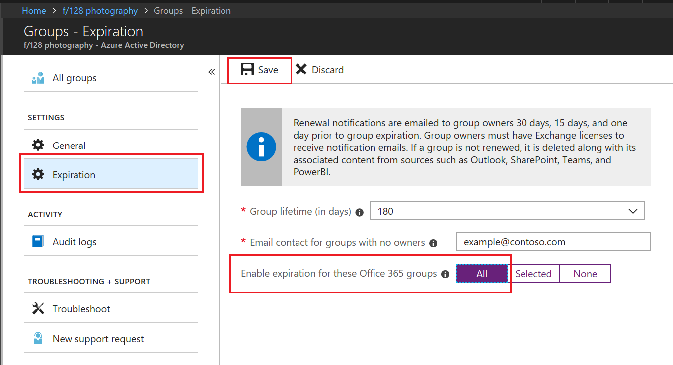 4dc25130 Expiration policy quickstart for Office 365 groups - Azure Active ...