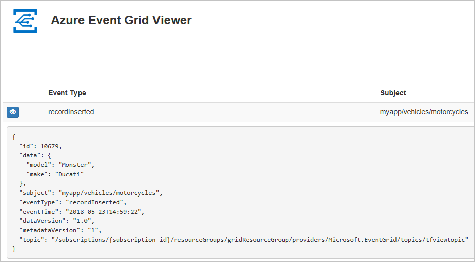 Send custom events to web endpoint - Event Grid, Azure